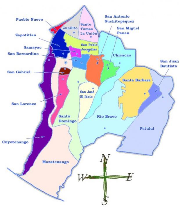 Mapa político de Suchitepéquez