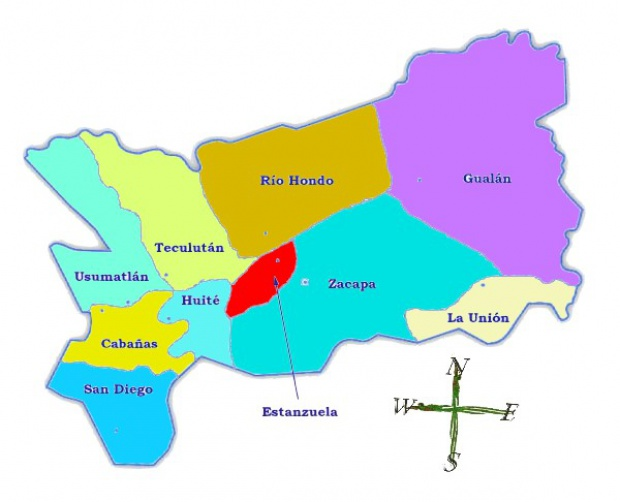 Political map of Zacapa