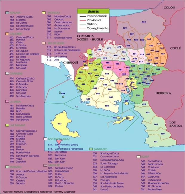 Mapa político de Veraguas