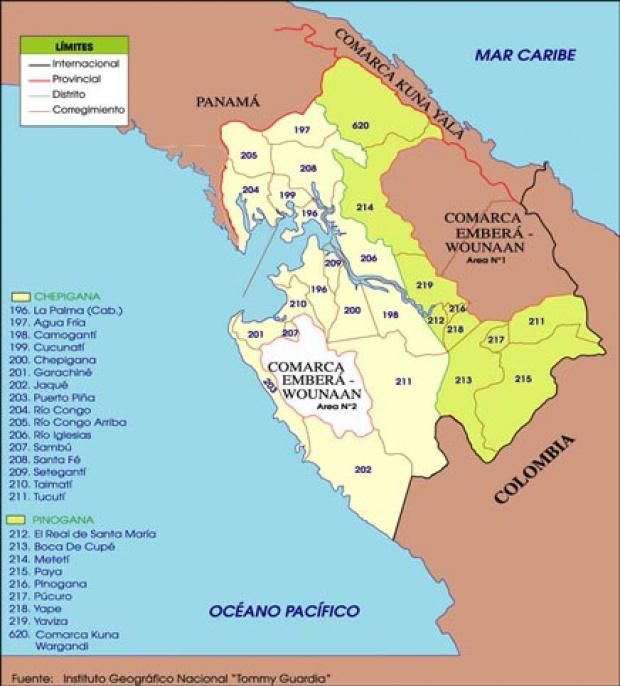 Mapa político de Darién