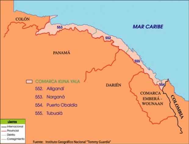 Mapa político de Kuna Yala