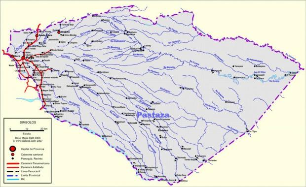 Mapa de carreteras de Pastaza