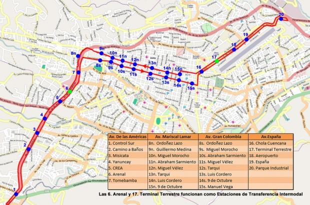 Ruta planeada del tranvía en la ciudad de Cuenca 2011
