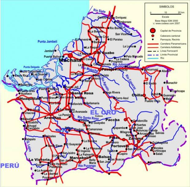 Mapa de carreteras de El Oro