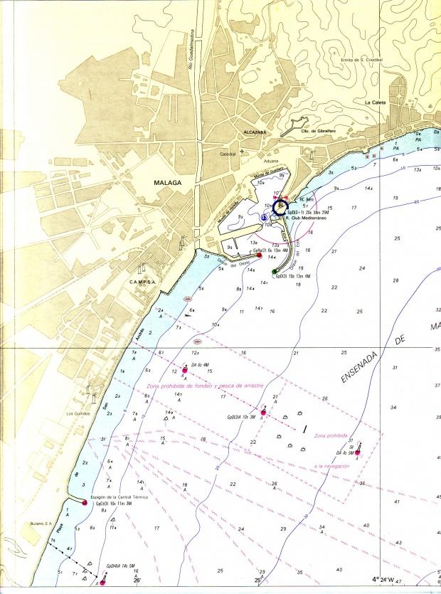 Nautical chart of the port of Málaga
