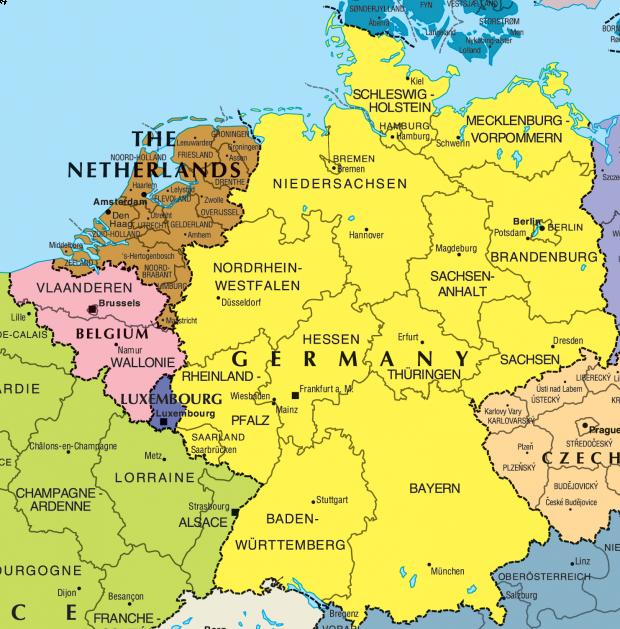Mapa Político General  de La Republica de Alemania