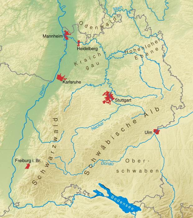 Physical map of Baden-Württemberg 2008