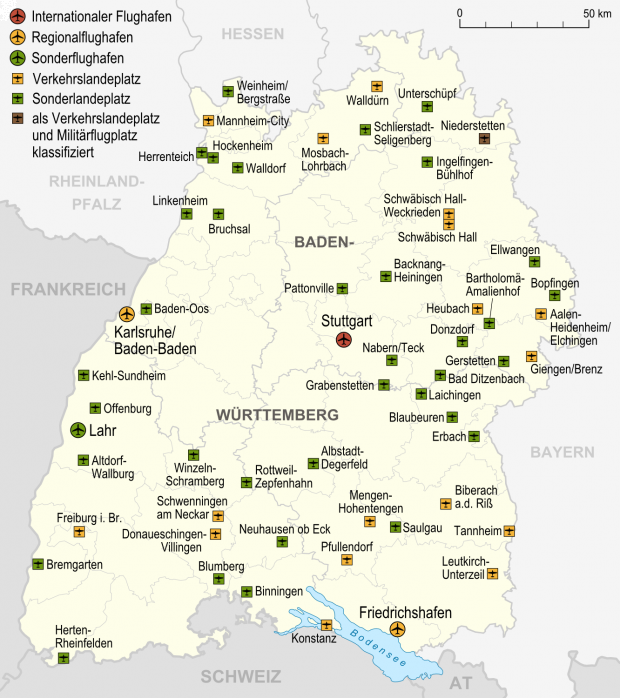 Airports and airfields in Baden-Württemberg 2007