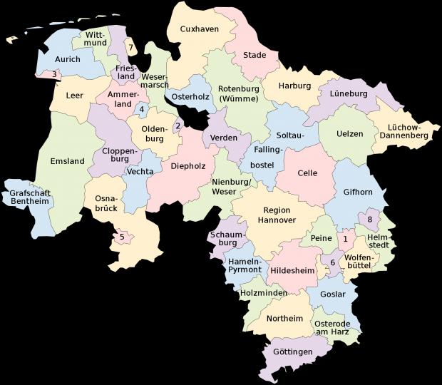 Mapa de Baja Sajonia 2008