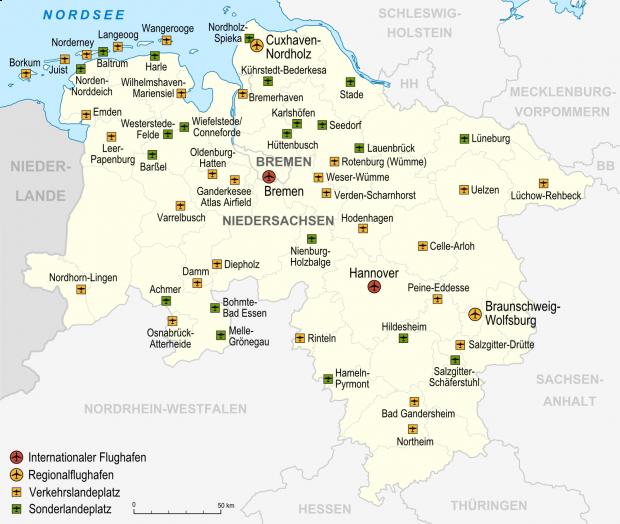Mapa de Aeropuertos y aeródromos en Baja Sajonia 2007