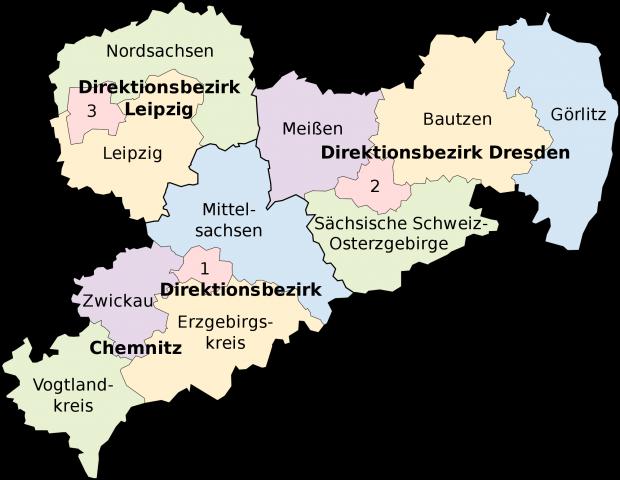 Mapa politico de Sajonia 2008