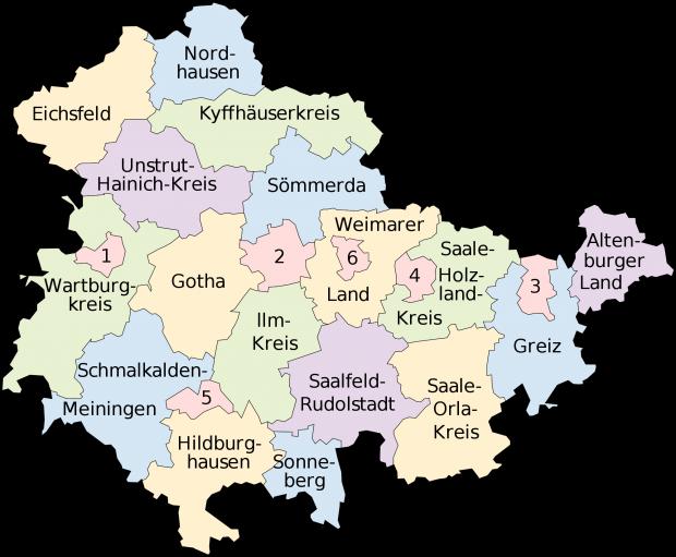 Mapa político de Turingia 2008