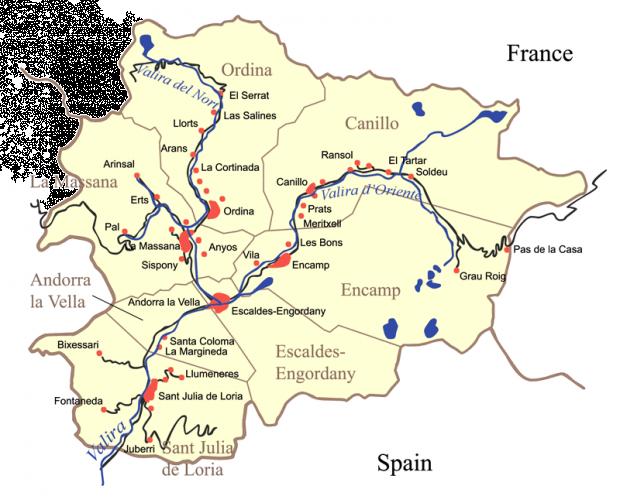 Mapa de Las 7 parroquias de Andorra 2006