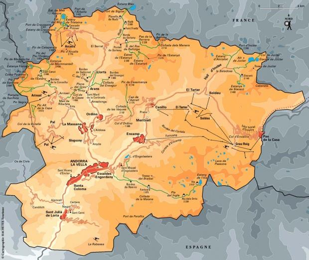 Mapa de Esquí en Andorra Europa