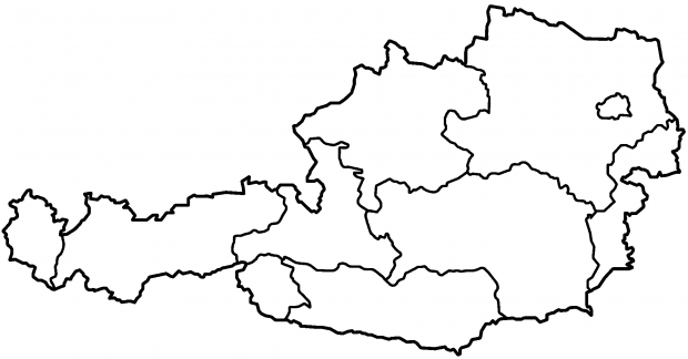 Blank map of the federal states of Austria