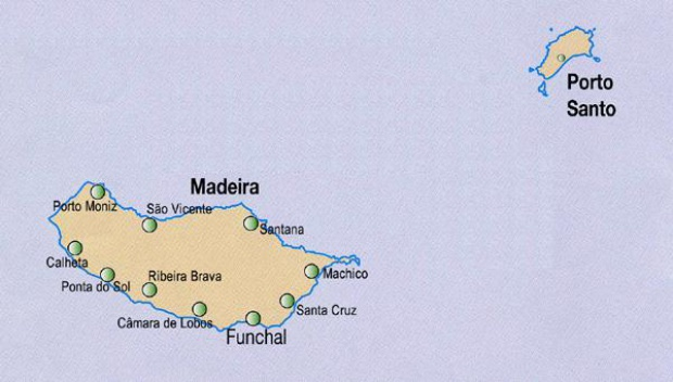Autonomous Region of Madeira Map, Portugal