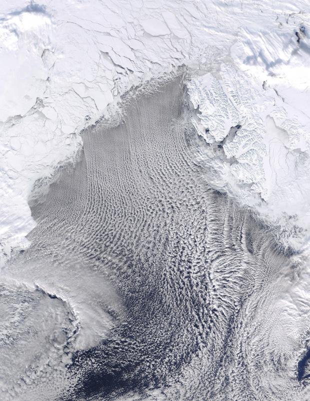 Calles de nubes en el Mar de Groenlandia