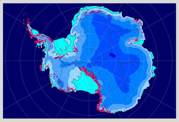 Capa de hielo en la Antártida (periodo interglaciar)