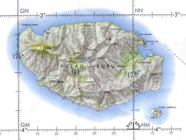 Carta Naútica de la Isla de Buru, Indonesia