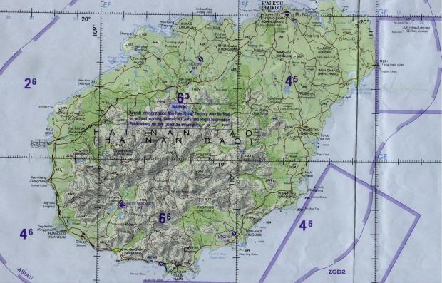 Carta Náutica de la Isla de Hainan, China