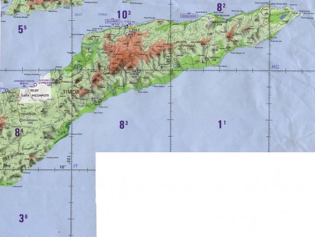Carta Náutica del Oriente y Centro de Timor