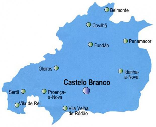 Castelo Branco District Map, Portugal