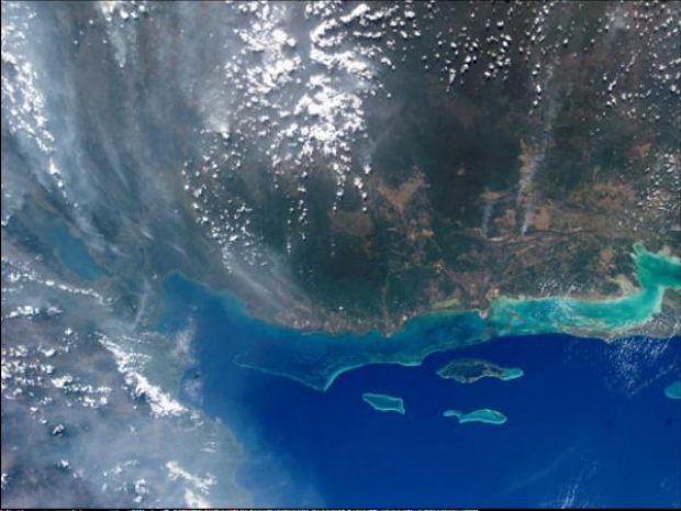Satellite Image, Photo of Smokey Sky over Belize and Guatemala