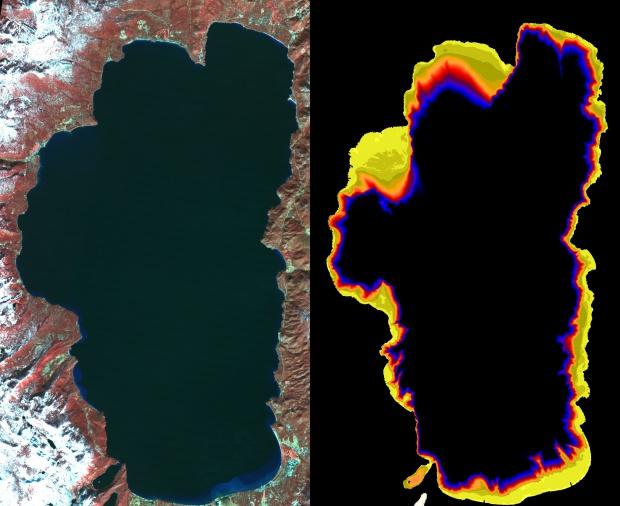 Claridad disminuida en las aguas del lago Tahoe