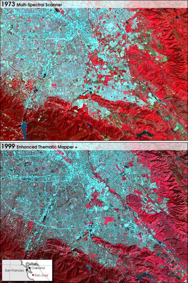 Crecimiento de San José, California 1973-1999