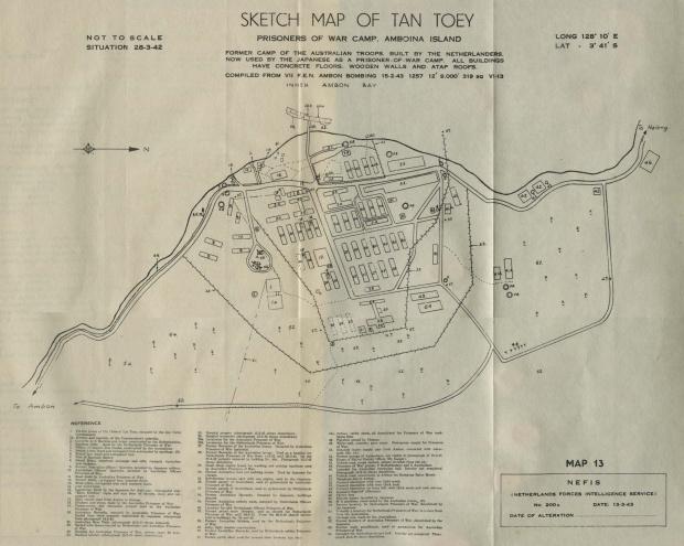 Croquis del Campamento de Prisioneros de Guerra Tan Toey, Isla Ambon, Indonesia 1943
