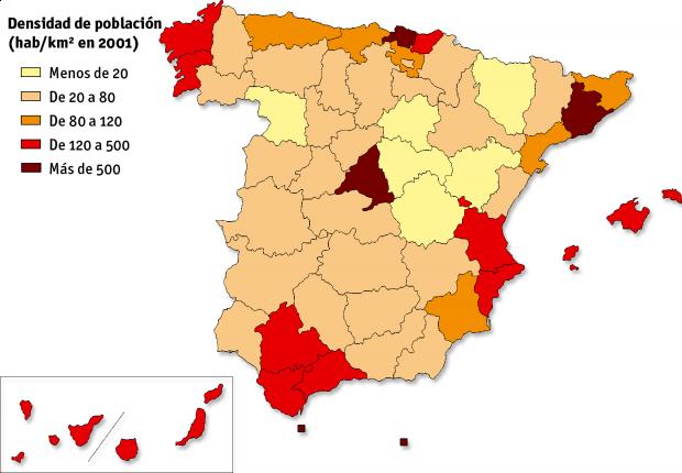 Densidad de población en España 2001