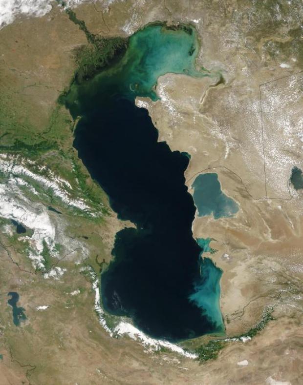 El mar Caspio visto desde un satélite