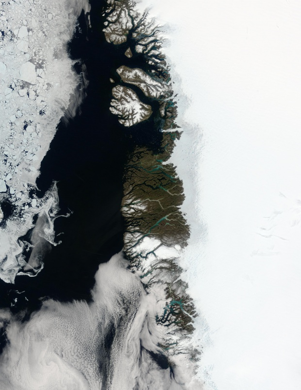Meltwater ponds along Greenland West Coast