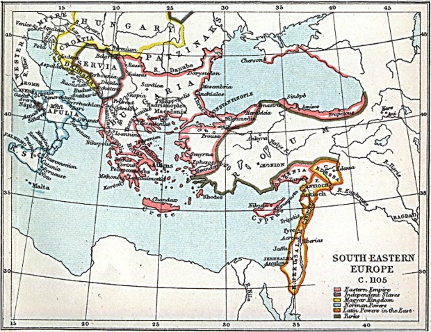 South Eastern Europe Map 1105 A.D.