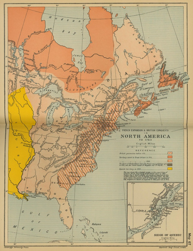 French Expansion and British conquests in North America until 1763