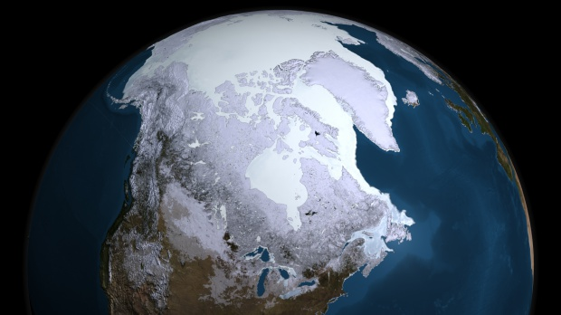 Maximum extent of Arctic winter sea ice in 2008-09