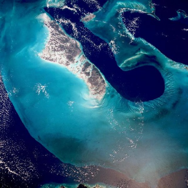 Satellite Image, Photo of Andros Island and Tongue of the Ocean, Bahamas
