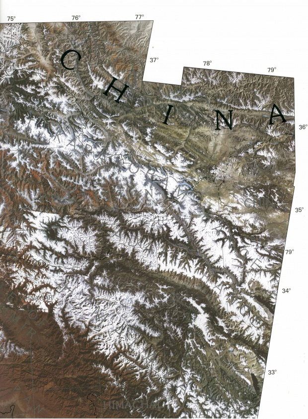 Satellite Image, Photo of the Eastern Section of Kashmir and Northern Areas (Pakistan) 1997