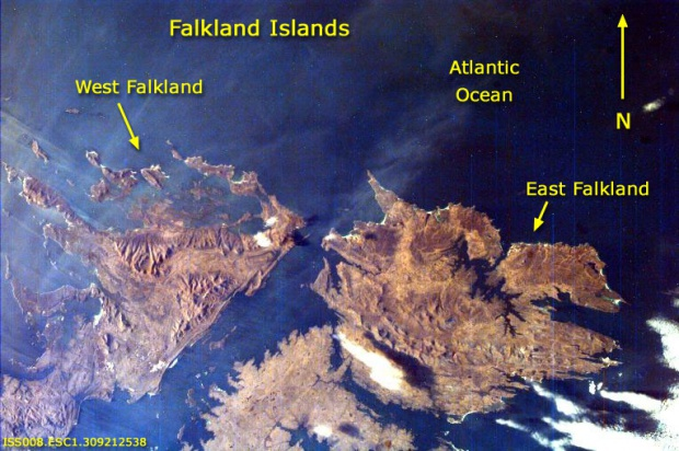 Foto Satelite de las Islas Malvinas (Falkland Islands)