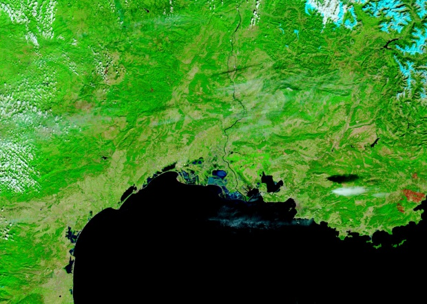 Southern France (before floods, false color)