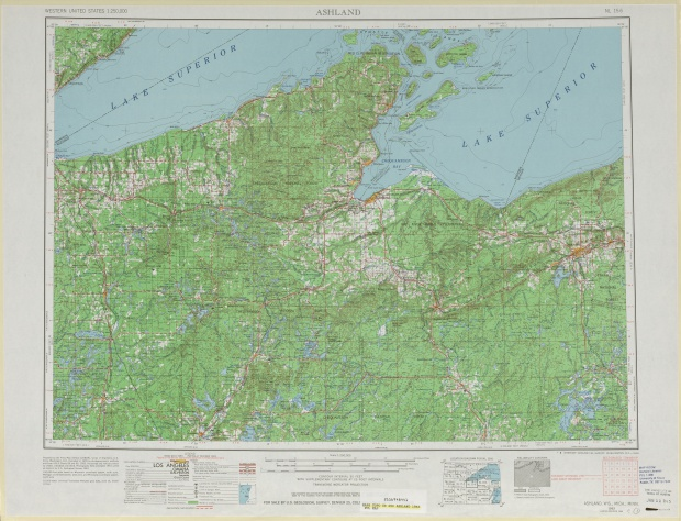 Ashland Topographic Map Sheet, United States 1963