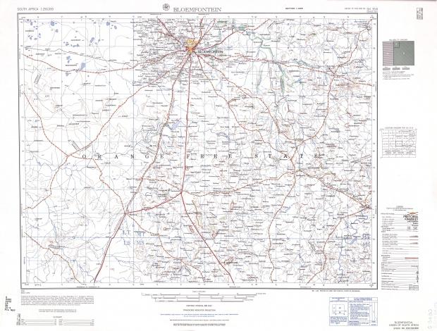 Hoja Bloemfontein del Mapa Topográfico de África Meridional 1954