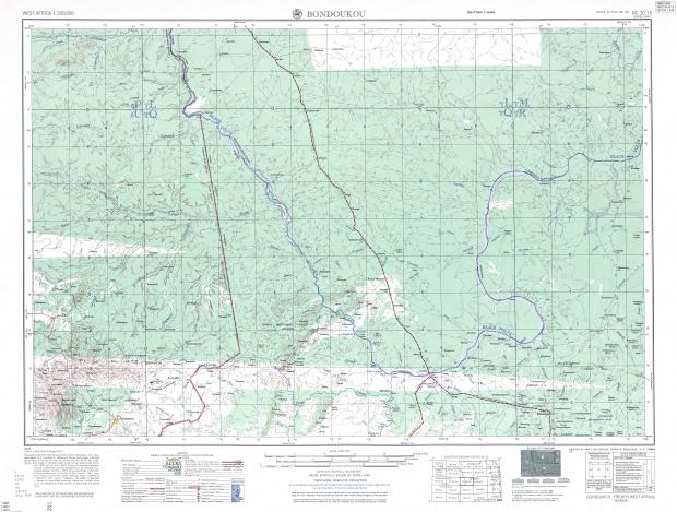 Hoja Bondoukou del Mapa Topográfico de África Occidental 1955