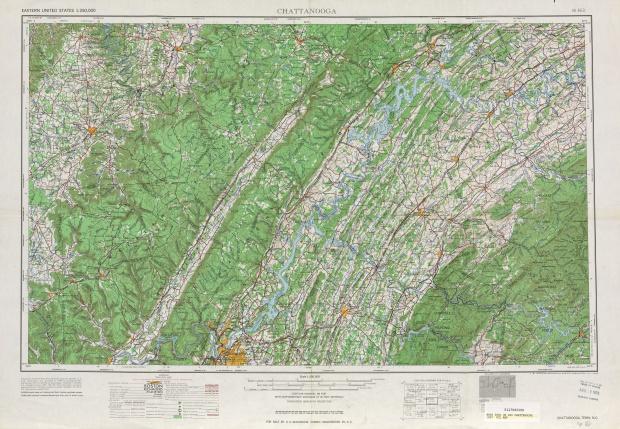 Hoja Chattanooga del Mapa Topográfico de los Estados Unidos 1957
