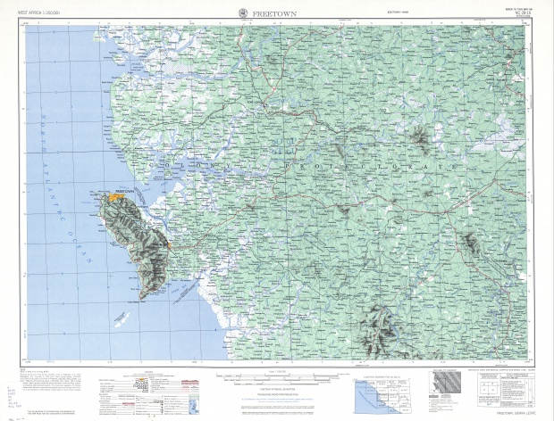 Freetown Topographic Map Sheet, Western Africa 1955