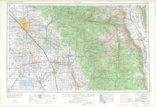 Fresno Topographic Map Sheet, United States 1971