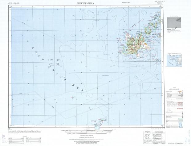 Fukue-Jima Topographic Map Sheet, Japan 1954