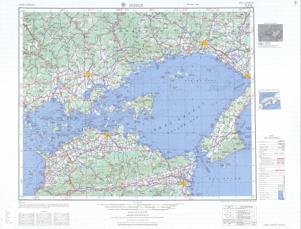 Hoja Himeji del Mapa Topográfico de Japón 1954