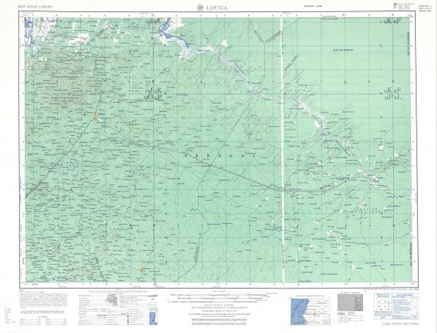 Hoja Louga del Mapa Topográfico de África Occidental 1955