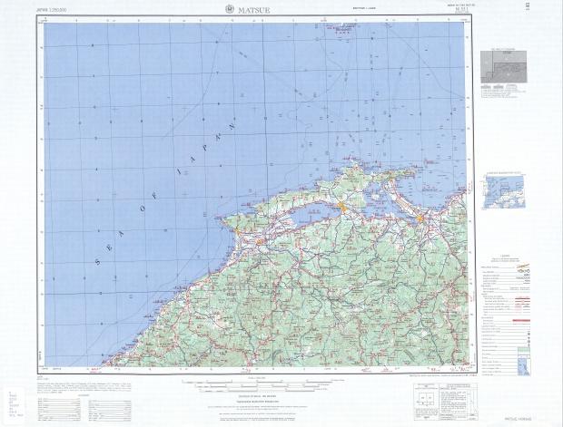 Matsue Topographic Map Sheet, Japan 1954